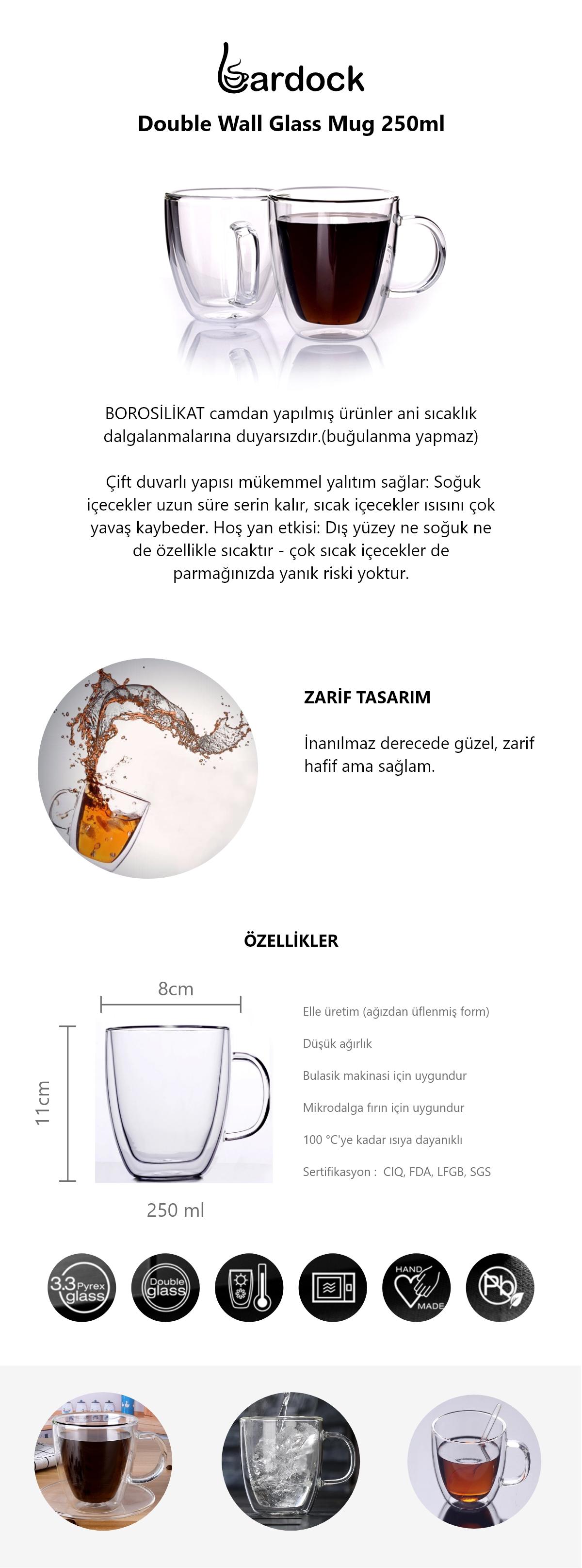 Double Wall Glass Çift Tamper Kulplu Bardak 250ml